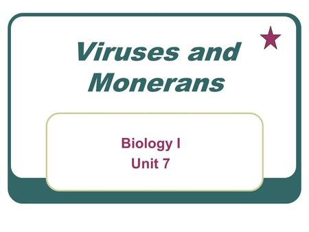 Viruses and Monerans Biology I Unit 7. Your Name One-celled Monerans that contain chlorophyll Blue-green algae.