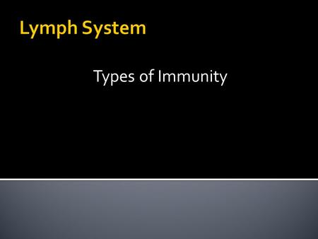 Lymph System Types of Immunity.