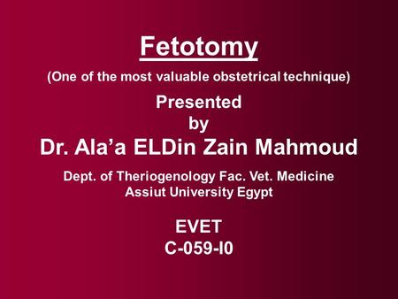 Fetotomy (One of the most valuable obstetrical technique) Presented by Dr. Ala'a ELDin Zain Mahmoud Dept. of Theriogenology Fac. Vet. Medicine Assiut University.