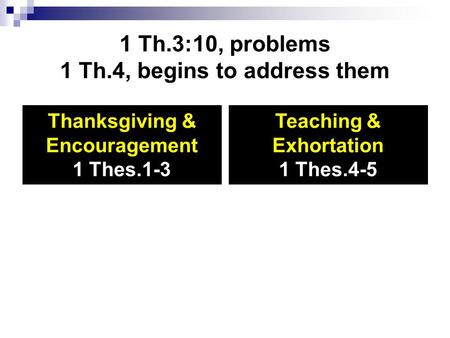 1 Th.3:10, problems 1 Th.4, begins to address them Thanksgiving & Encouragement 1 Thes.1-3 Teaching & Exhortation 1 Thes.4-5.