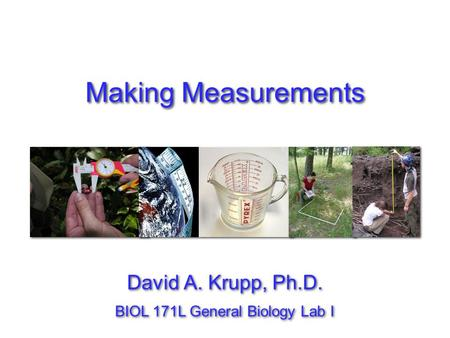 Making Measurements David A. Krupp, Ph.D.