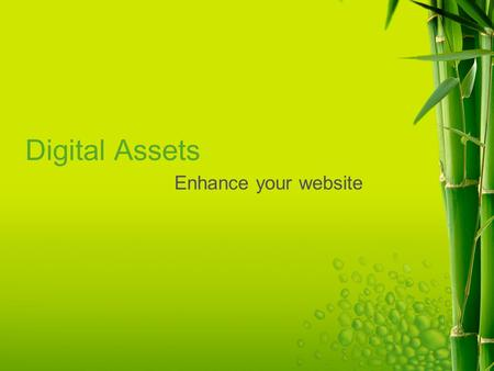 Digital Assets Enhance your website. What is Interactivity? The CMS allows us to continue to change our message and update information Web 2.0 is community.