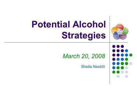Potential Alcohol Strategies March 20, 2008 Sheila Nesbitt.