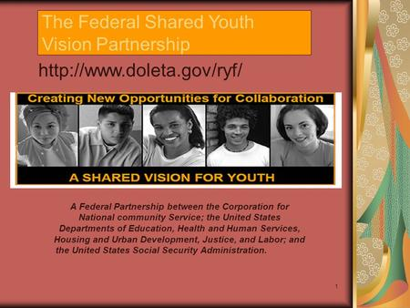 1 The Federal Shared Youth Vision Partnership  A Federal Partnership between the Corporation for National community Service;