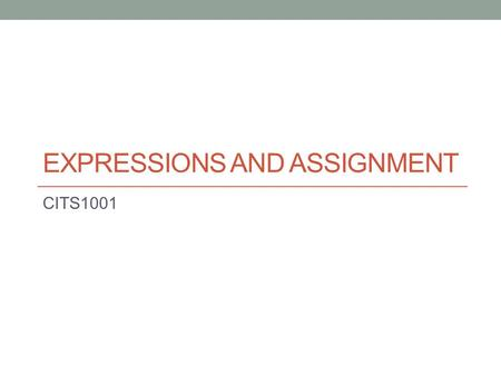EXPRESSIONS AND ASSIGNMENT CITS1001. Scope of this lecture Assignment statements Expressions 2.