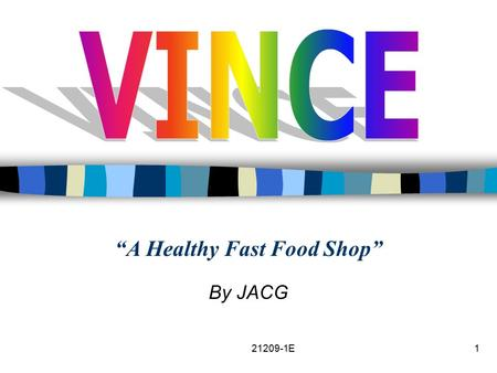 "21209-1E1 ""A Healthy Fast Food Shop"" By JACG. 2 Contents VINCE? Business Overview Organization Structure Products & Services Product Differentiation The."
