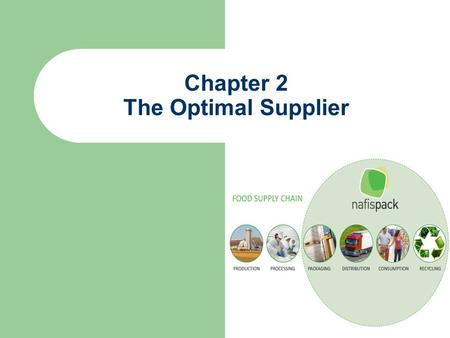 Chapter 2 The Optimal Supplier. The Initial Supplier Survey First, list all possible suppliers Next, trim the list by establishing a set of criteria –
