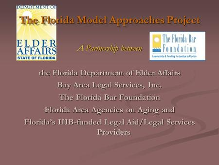 The Florida Model Approaches Project A Partnership between the Florida Department of Elder Affairs Bay Area Legal Services, Inc. The Florida Bar Foundation.