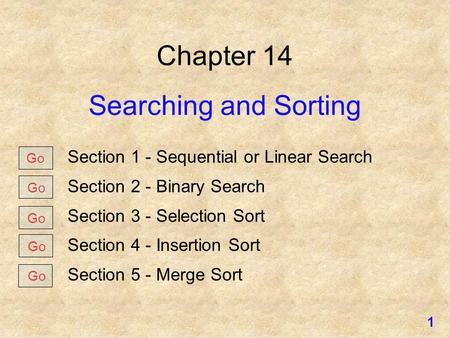 Chapter 14 Searching and Sorting Section 1 - Sequential or Linear Search Section 2 - Binary Search Section 3 - Selection Sort Section 4 - Insertion Sort.