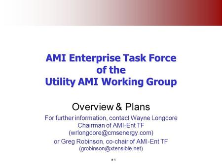 # 1 AMI Enterprise Task Force of the Utility AMI Working Group Overview & Plans For further information, contact Wayne Longcore Chairman of AMI-Ent TF.