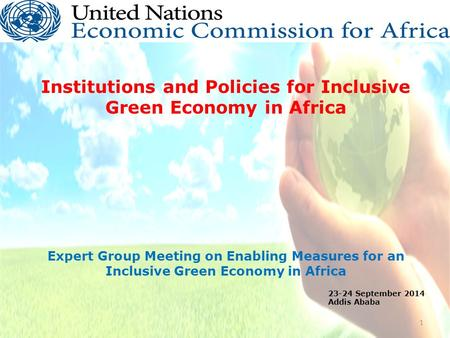 Institutions and Policies for Inclusive Green Economy in Africa Expert Group Meeting on Enabling Measures for an Inclusive Green Economy in Africa 1 23-24.
