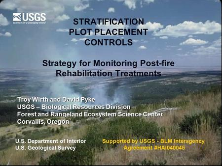 STRATIFICATION PLOT PLACEMENT CONTROLS Strategy for Monitoring Post-fire Rehabilitation Treatments Troy Wirth and David Pyke USGS – Biological Resources.