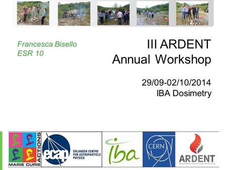 Protect, Enhance, and Save Lives - 1 - III ARDENT Annual Workshop 29/09-02/10/2014 IBA Dosimetry Francesca Bisello ESR 10.
