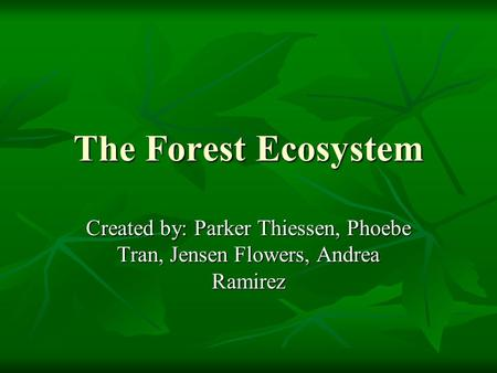The Forest Ecosystem Created by: Parker Thiessen, Phoebe Tran, Jensen Flowers, Andrea Ramirez.