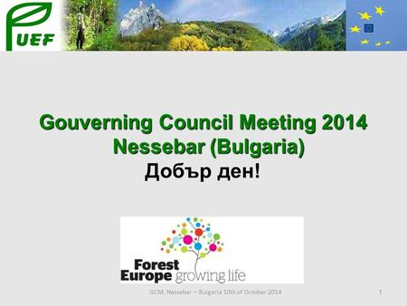 GCM, Nessebar – Bulgaria 10th of October 2014 1 Gouverning Council Meeting 2014 Nessebar (Bulgaria) Nessebar (Bulgaria) Добър ден!