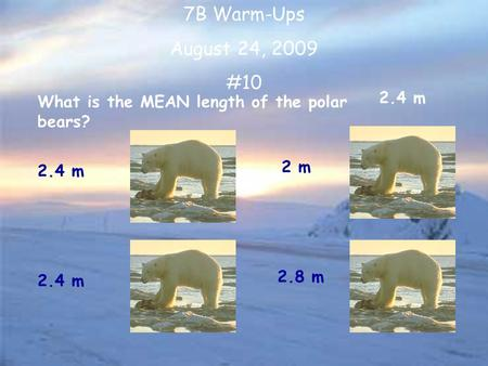7B Warm-Ups August 24, 2009 #10 What is the MEAN length of the polar bears? 2.4 m 2 m 2.8 m 2.4 m.