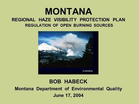 MONTANA REGIONAL HAZE VISIBILITY PROTECTION PLAN REGULATION OF OPEN BURNING SOURCES BOB HABECK Montana Department of Environmental Quality June 17, 2004.