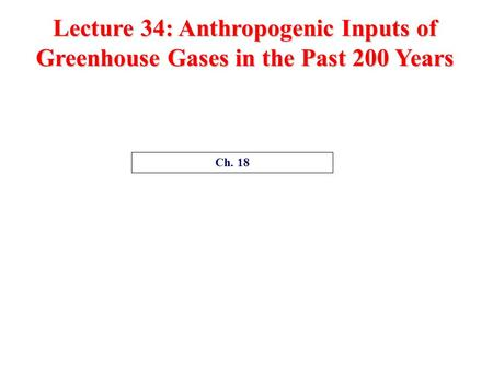 Lecture 34: Anthropogenic Inputs of Greenhouse Gases in the Past 200 Years Ch. 18.
