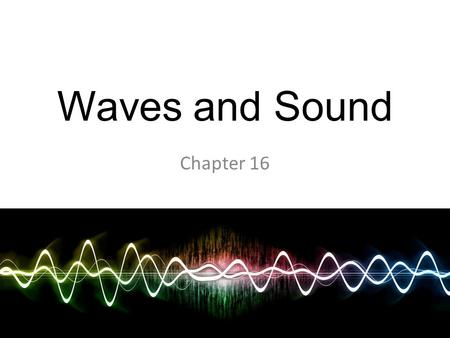 Waves and Sound Chapter 16.
