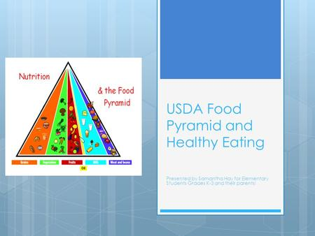 USDA Food Pyramid and Healthy Eating Presented by Samantha Hay for Elementary Students Grades K-3 and their parents!