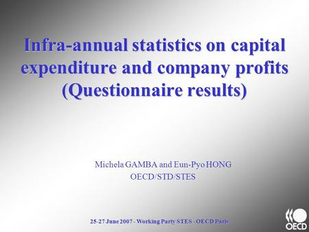 25-27 June 2007 - Working Party STES - OECD Paris Infra-annual statistics on capital expenditure and company profits (Questionnaire results) Michela GAMBA.