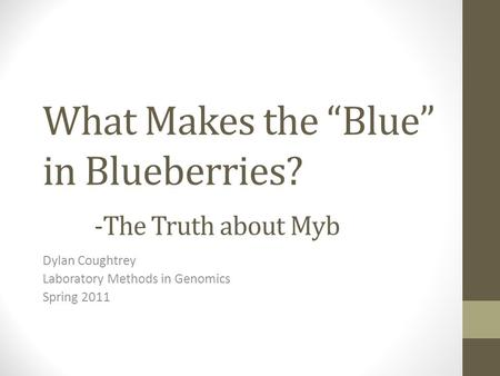 "What Makes the ""Blue"" in Blueberries? -The Truth about Myb Dylan Coughtrey Laboratory Methods in Genomics Spring 2011."