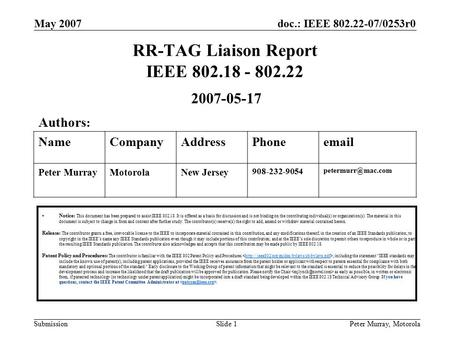 Doc.: IEEE 802.22-07/0253r0 Submission May 2007 Peter Murray, MotorolaSlide 1 RR-TAG Liaison Report IEEE 802.18 - 802.22 Notice: This document has been.