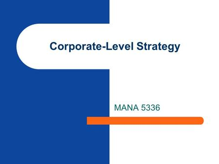Corporate-Level Strategy MANA 5336. 2 Directional Strategies.