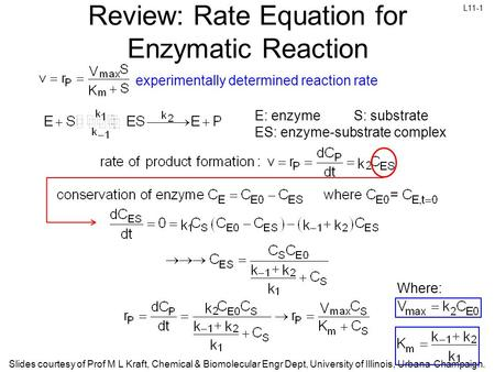 L11-1 Slides courtesy of Prof M L Kraft, Chemical & Biomolecular Engr Dept, University of Illinois, Urbana-Champaign. Review: Rate Equation for Enzymatic.