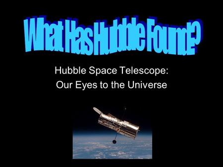 Hubble Space Telescope: Our Eyes to the Universe.