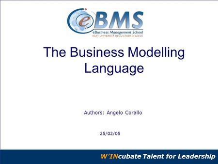 @Copyright eBMS-eBusiness Management School – ISUFI – Università di Lecce - Riproduzione vietata W'INcubate Talent for Leadership Authors: Angelo Corallo.