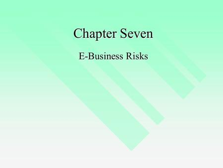 Chapter Seven E-Business Risks. E-Business Model Evolution EDI EDI Web pages Web pages The online environment The online environment Distributed e-business.