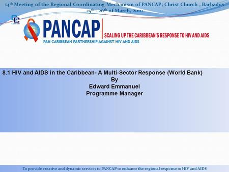 14 th Meeting of the Regional Coordinating Mechanism of PANCAP; Christ Church, Barbados 25 th - 26 th of March, 2010 To provide creative and dynamic services.