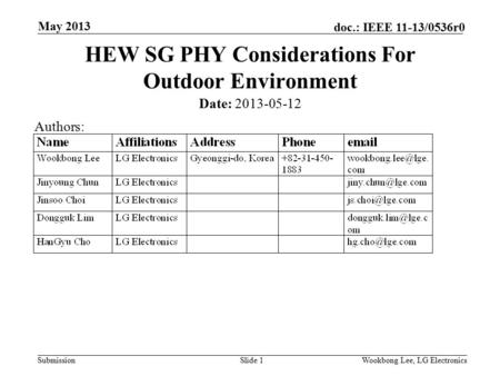 Submission doc.: IEEE 11-13/0536r0 May 2013 Wookbong Lee, LG ElectronicsSlide 1 HEW SG PHY Considerations For Outdoor Environment Date: 2013-05-12 Authors: