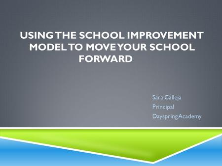 USING THE SCHOOL IMPROVEMENT MODEL TO MOVE YOUR SCHOOL FORWARD Sara Calleja Principal Dayspring Academy.