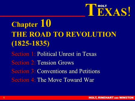 Chapter 10 THE ROAD TO REVOLUTION ( )