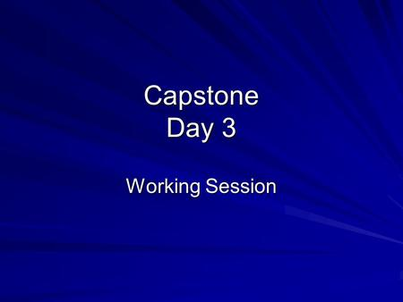 Capstone Day 3 Working Session. Why are we doing this?? Capstone –Opportunity to reflect on achievements and growth as an educator CognitivelyPedagogicallyMorally.