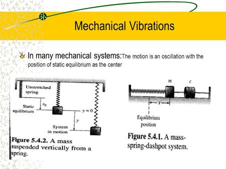 Mechanical Vibrations In many mechanical systems: The motion is an oscillation with the position of static equilibrium as the center.