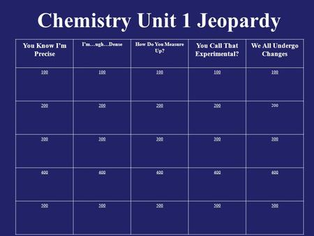 Chemistry Unit 1 Jeopardy You Know I'm Precise I'm…ugh…DenseHow Do You Measure Up? You Call That Experimental? We All Undergo Changes 100 200 300 400 500.