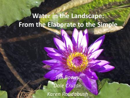 Water in the Landscape: From the Elaborate to the Simple Jen Bowry Dale Cruzan Karen Roudabush.