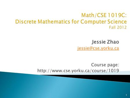 Jessie Zhao Course page:  1.