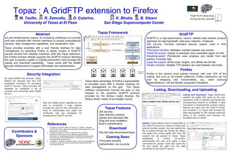 Topaz : A GridFTP extension to Firefox M. Taufer, R. Zamudio, D. Catarino, K. Bhatia, B. Stearn University of Texas at El Paso San Diego Supercomputer.