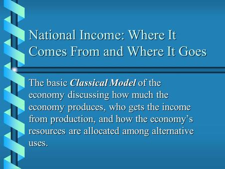 National Income: Where It Comes From and Where It Goes The basic Classical Model of the economy discussing how much the economy produces, who gets the.