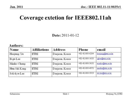 Doc.: IEEE 802.11-11/0035r1 Submission Jan. 2011 Heejung Yu, ETRISlide 1 Coverage extetion for IEEE802.11ah Date: 2011-01-12 Authors: