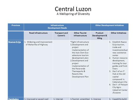 1 Central Luzon ProvinceInfrastructure Development Needs Other Development Initiatives Road InfrastructureTransport and Comm's Other Tourist Infrastructure.