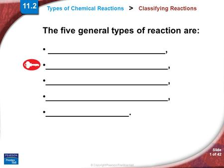 © Copyright Pearson Prentice Hall Slide 1 of 42 Types of Chemical Reactions > Classifying Reactions The five general types of reaction are: ________________________,