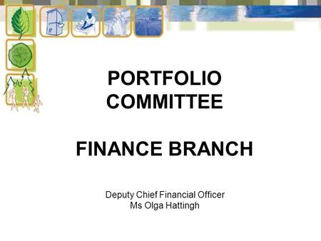 PORTFOLIO COMMITTEE FINANCE BRANCH Deputy Chief Financial Officer Ms Olga Hattingh.