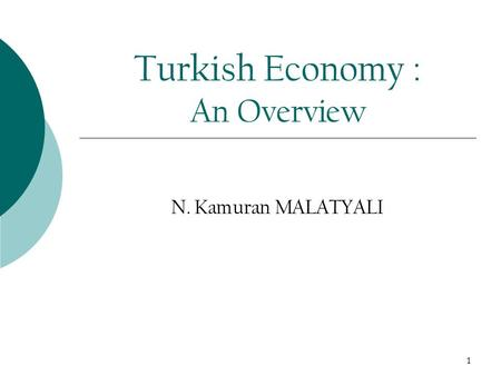 1 Turkish Economy : An Overview N. Kamuran MALATYALI.
