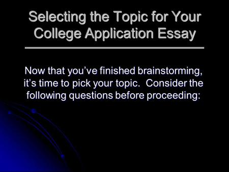 College essay brainstorming