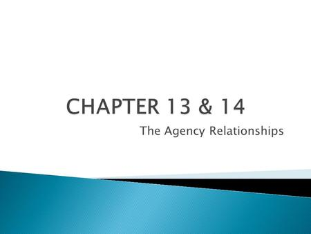 The Agency Relationships